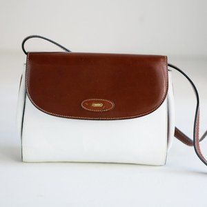 Vintage Bally Two Tone Brown White Leather Small Classic Crossbody Bag